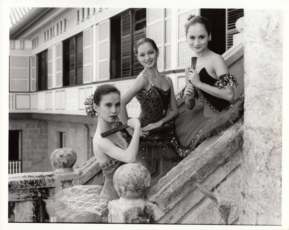 Melannie Motus, Maritoni Rufino, and Lisa Macuja clutched their fans fiercely as they channel the fiery Kitri in this photo shoot at Casa Manila. Photo courtesy of the Ballet Manila Archives