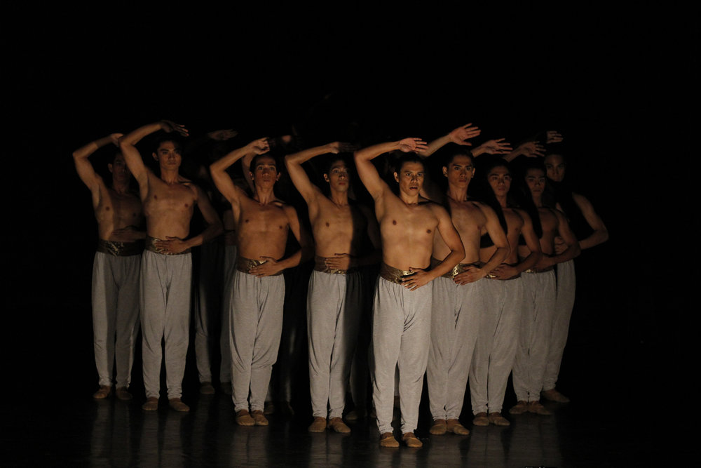 Francis (front) in the contemporary piece    Bloom    by choreographer Annabelle Lopez Ochoa, restaged for Ballet Manila's anniversary show    BM 21    in 2016