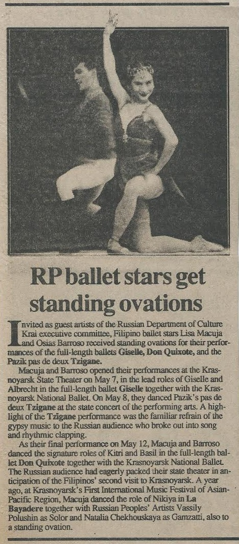 Barroso and Macuja-Elizalde would return to Russia in 1993 to perform the full-length    Don Quixote    and Giselle, earning raves as reported in this news item. Image courtesy of the Ballet Manila Archives