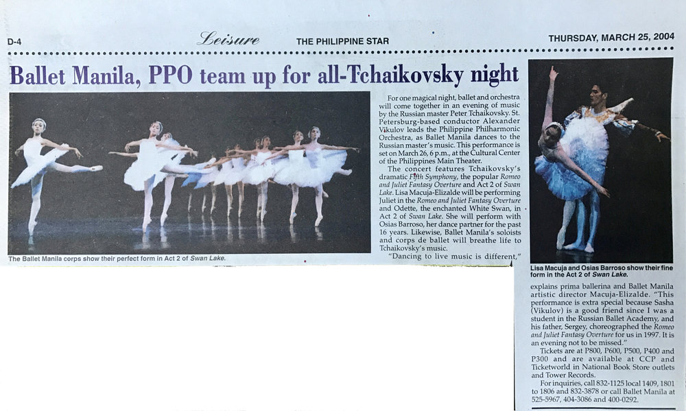 A newspaper item banners Ballet Manila's collaboration with the Philippine Philharmonic Orchestra. Photo courtesy of the Ballet Manila Archives