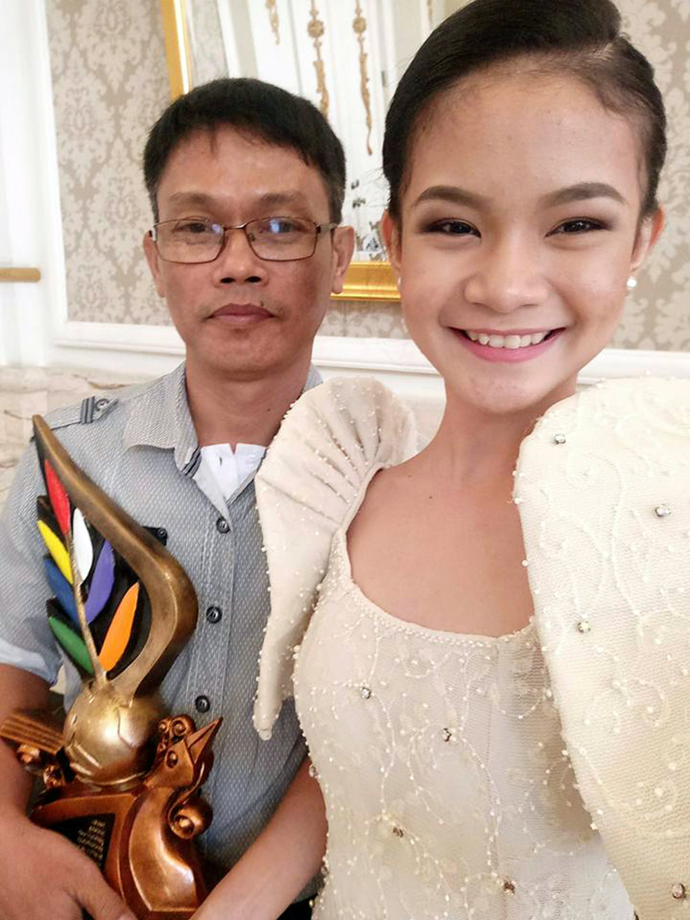 Shaira Comeros with her dad Toto who is also Ballet Manila's costume maker