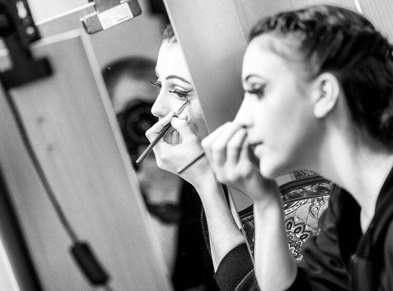 Pre-performance make up routine when I get centered and get ready to go onstage mentally and physically
