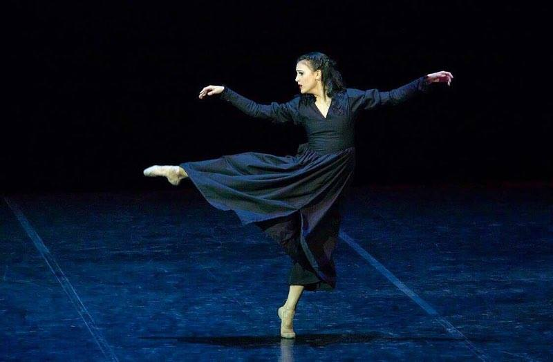 Dancing the solo,    La Femme qui Voulait Parler avec le Vent (The Woman who Wants to Speak with the Wind)   , choreographed by Ernest Mandap. Photo from Tatiana Predeina's Facebook page