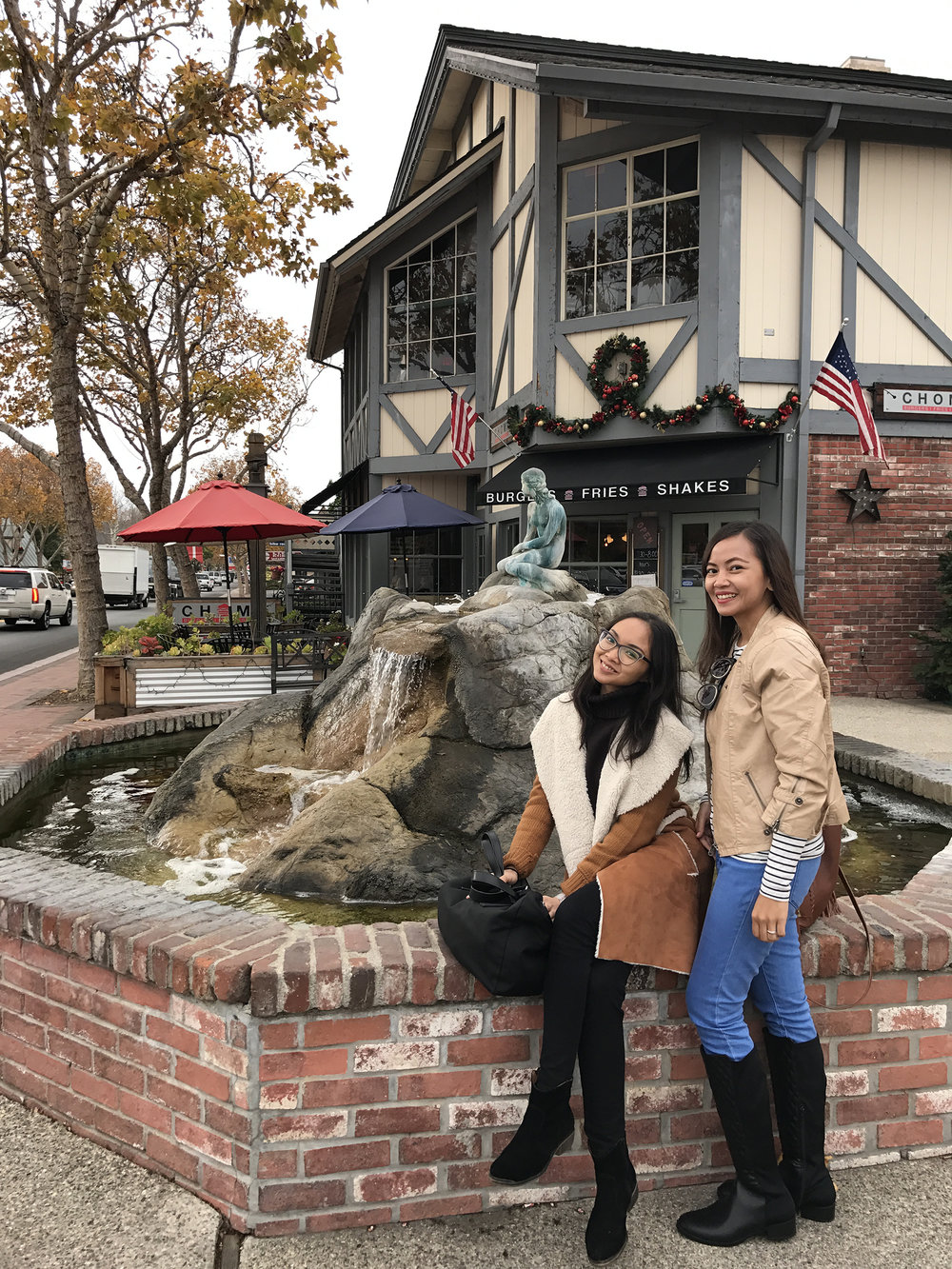 With my sis beside a replica of Denmark's The Little Mermaid statue in Solvang. The statue is based on a fairy tale written by Danish author Hans Christian Andersen.