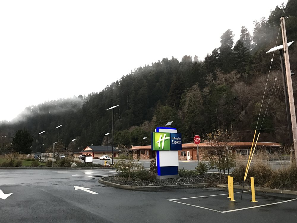 The Holiday Inn Express in Klamath. A cabin in the woods!