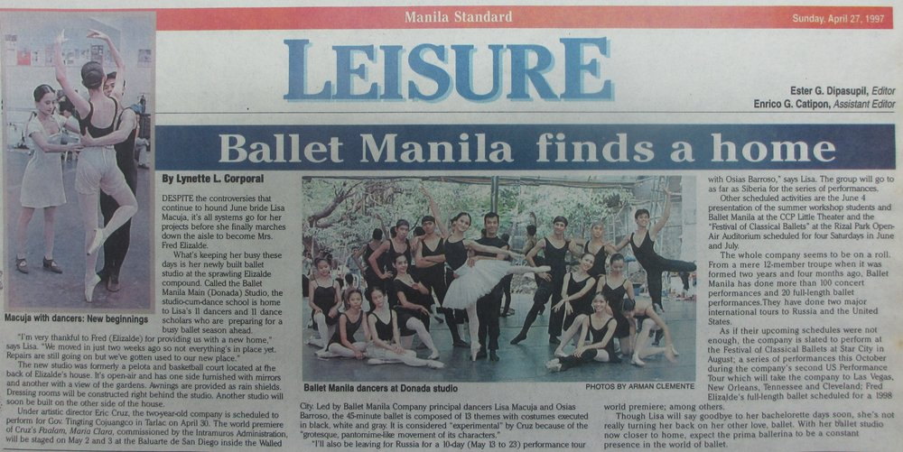 Manila Standard    tells the story of Ballet Manila moving to its new headquarters in Pasay and preparing for a busy season. Clipping courtesy of the Ballet Manila Archives