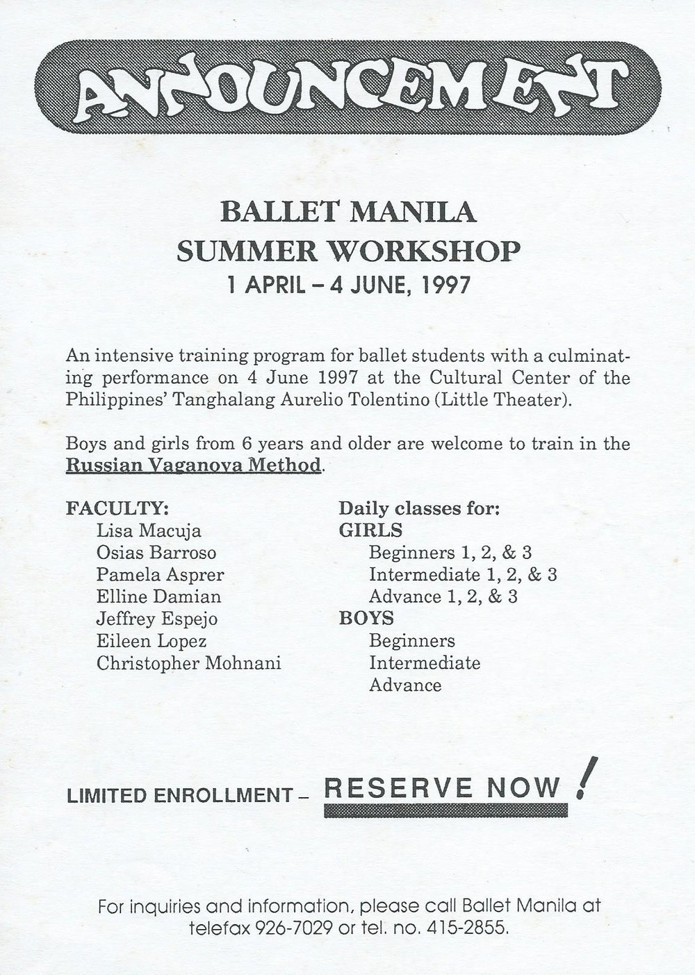 Leaflet for Ballet Manila's first summer workshop underscores its offered training in the Russian Vaganova Method. Image courtesy of the Ballet Manila Archives