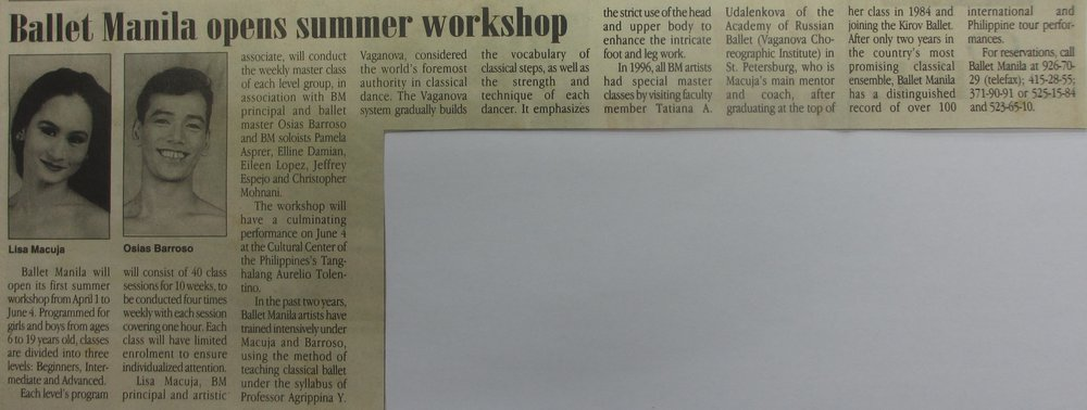 Announcement in    The Philippine Star    lists classes and faculty members for Ballet Manila's first summer workshop. Clipping courtesy of Ballet Manila Archives