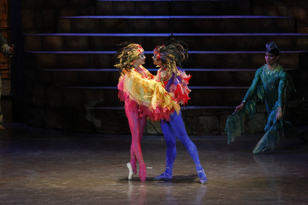 The princess (Katherine Barkman) chooses to transform into a bird to be with her beloved.