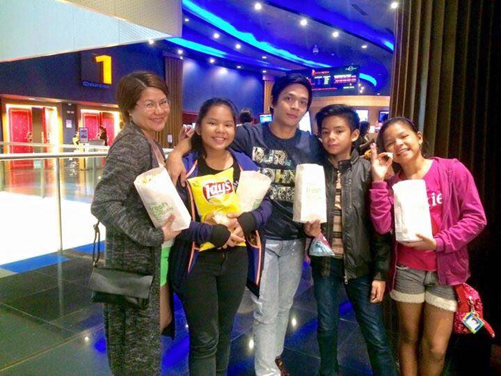 Out on a movie date: Geri Francisco with wife Jed and kids Jerree, Jed and Jesee