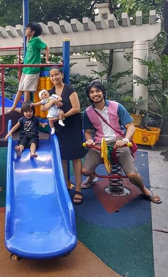Playtime: Romeo Peralta with wife Sofia and kids Ethan, Liam and Stephen
