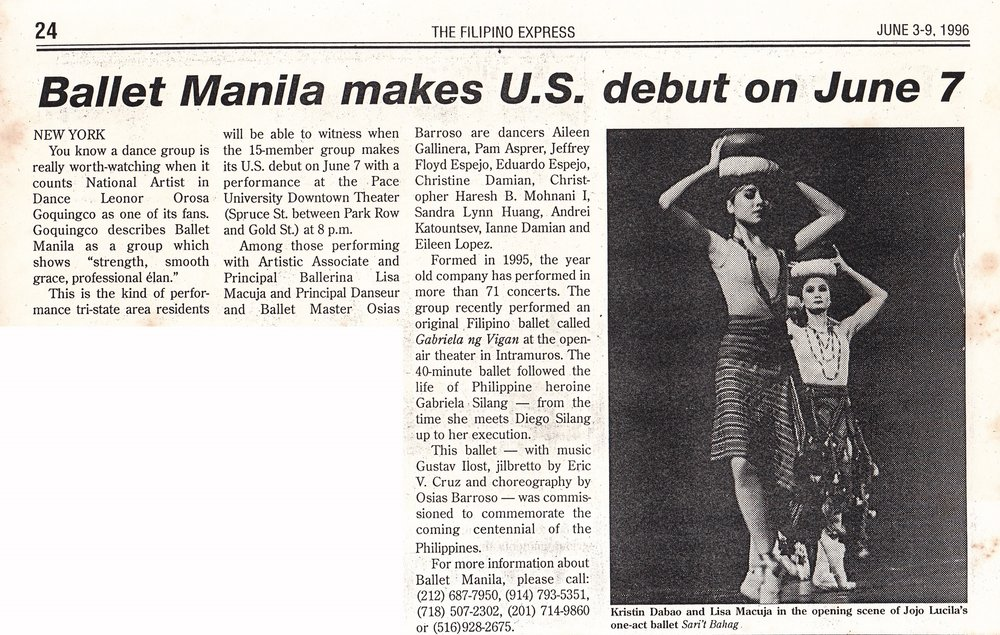 Newspaper clipping announces the kick-off of Ballet Manila's US performance tour in New York.