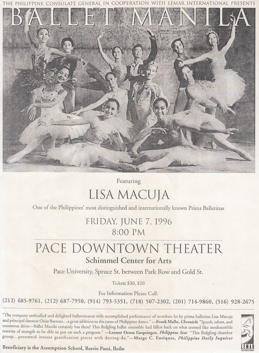 Leaflet for Ballet Manila's New York show