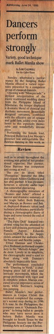 The Corpus Christi Caller-Times gives Ballet Manila a positive review.