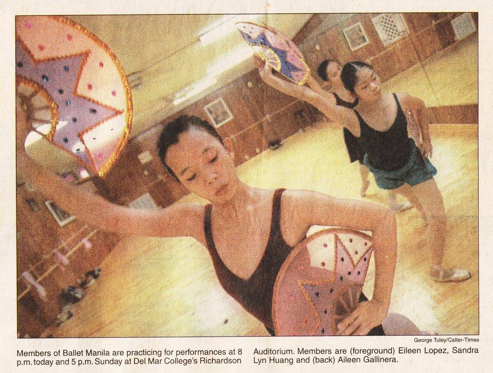 Photo from a newspaper feature shows three BM dancers rehearsing for their shows in Corpus Christi