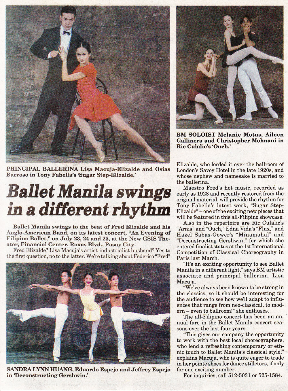 Clipping of an announcement of    An Evening of Filipino Ballet    that appeared in the Manila Bulletin. Photo courtesy of the Ballet Manila Archives