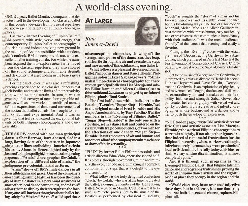 A review by columnist Rina Jimenez-David in the    Philippine Daily Inquirer.    Photo courtesy of the Ballet Manila Archives