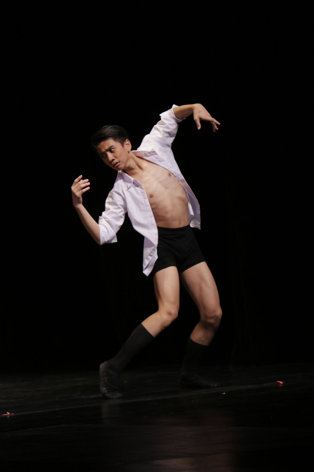 After encountering difficulties with his classical piece in the    CCP Ballet Competition   , Brian poured his heart into his modern piece choreographed by Ballet Manila soloist Mark Sumaylo. Photo by Kiko Cabuena/CCP