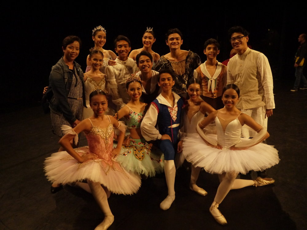 Team Ballet Manila with co-artistic director Osias Barroso and ballet mistress Eileen Lopez at the send-off concert for Asian Grand Prix participants held August 5 at Star Theater. Photo by Giselle P. Kasilag