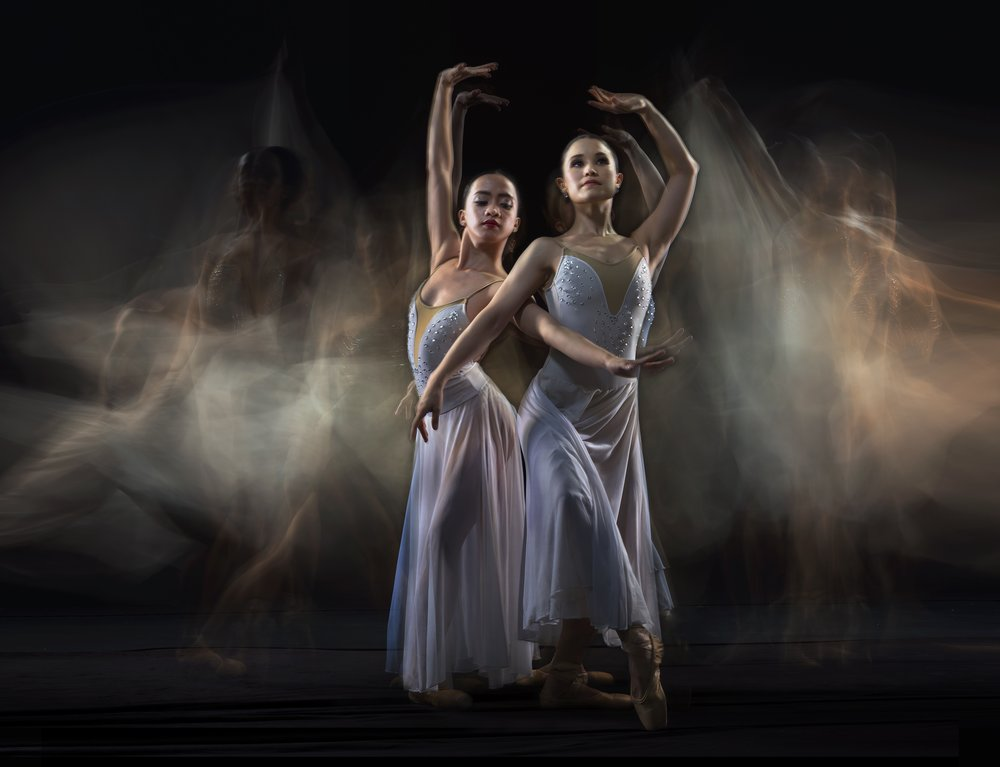 BM ballerinas Jessa Balote and Tiffany Chiang-Janolo conjur the mysterious grace of Spirit.