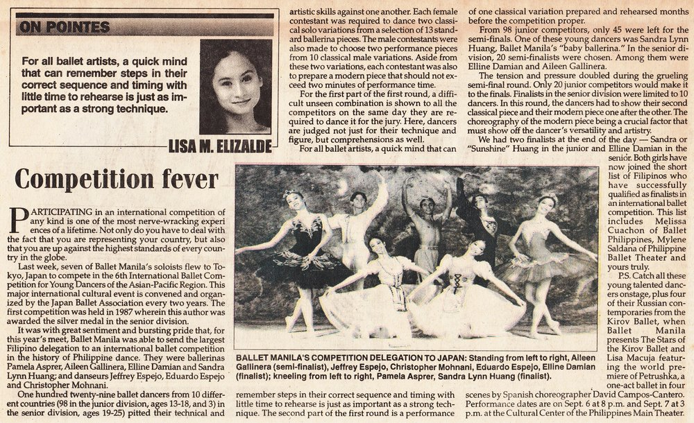 Lisa Macuja-Elizalde writes about the challenges of joining a ballet competition in her column in    Malaya    dated August 21, 1997. From the Ballet Manila Archives collection