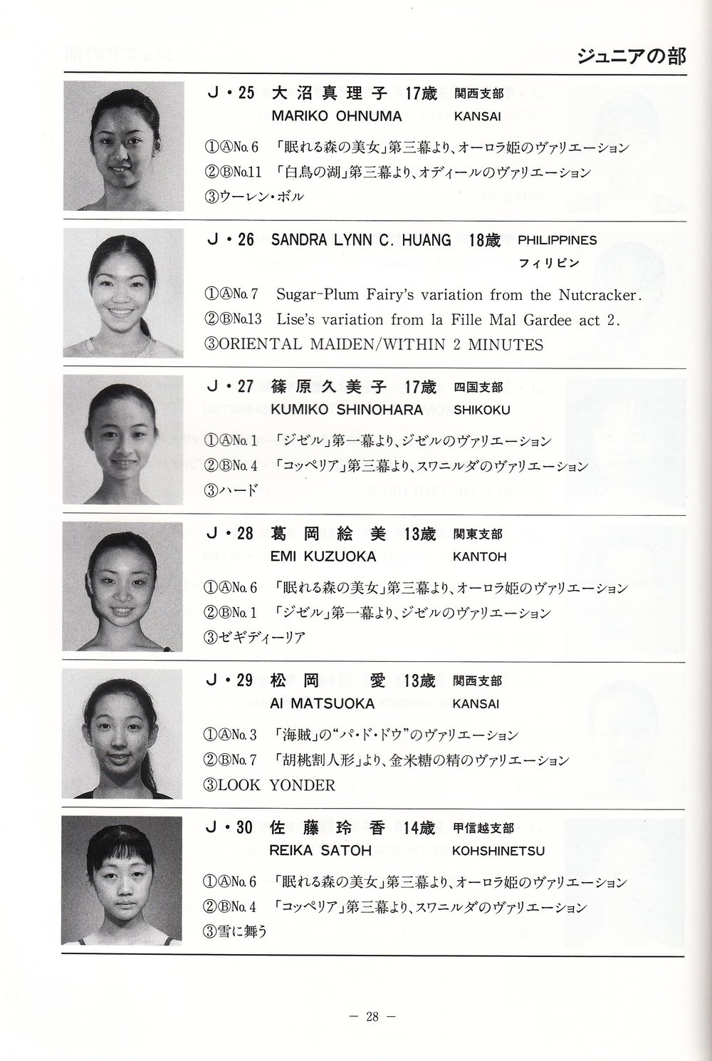 Page from the souvenir program shows Ballet Manila's junior competitor Sandra Lynn Huang. From the Ballet Manila Archives collection
