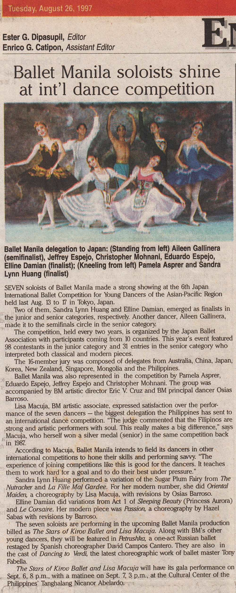 An item in    The Manila Standard    after the group's return also announces the dancers' participation in a gala performance,    The Stars of Kirov Ballet and Lisa Macuja   . From the Ballet Manila Archives collection