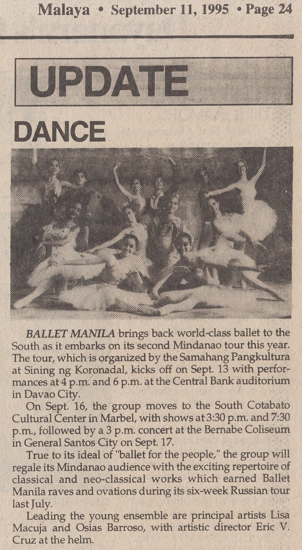 The Mindanao tour showcased the same repertoire that had earned raves and ovations during the company's Russian tour, according to this item in Malaya. From the Ballet Manila Archives collection