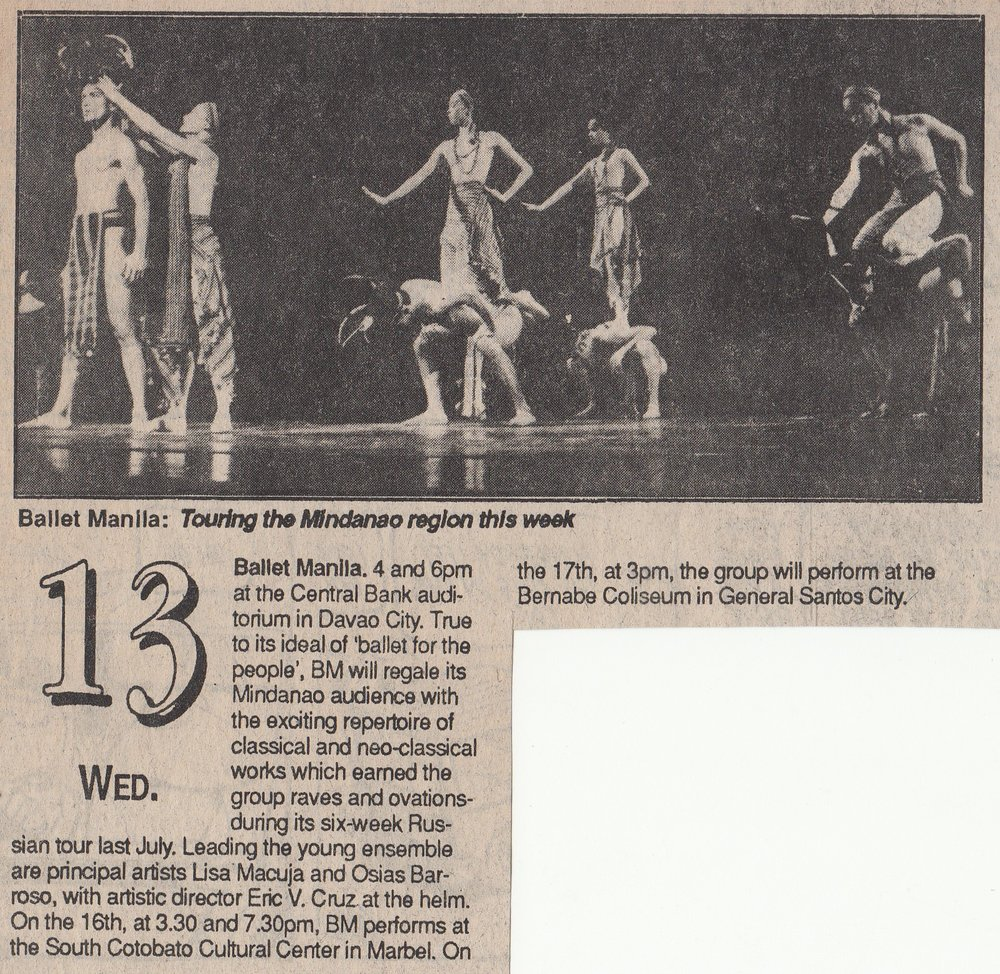 The repertoire included    Sari't Bahag   , as pictured in this newspaper calendar item. From the Ballet Manila Archives collection