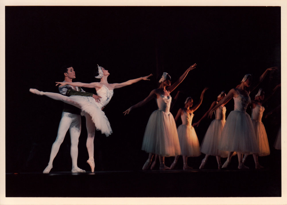 The author performs with Osias Barroso in Philippine Ballet Theater's production of    Swan Lake    in 1994 at the Cultural Center of the Philippines. From the Ballet Manila Archives collection