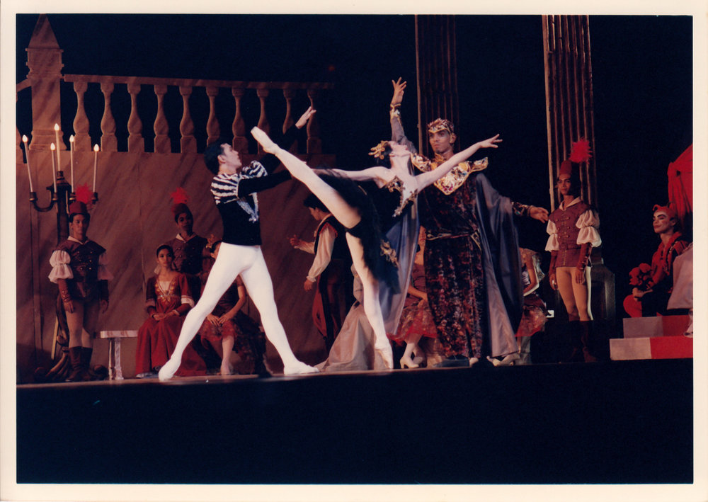 Prince Siegfried (Osias Barroso) falls for Odile (Lisa Macuja), thinking that she is Odette because of the spell cast by the sorcerer Rothbart (Christopher Mohnani) in    Swan Lake   , 1994. From the Ballet Manila Archives collection