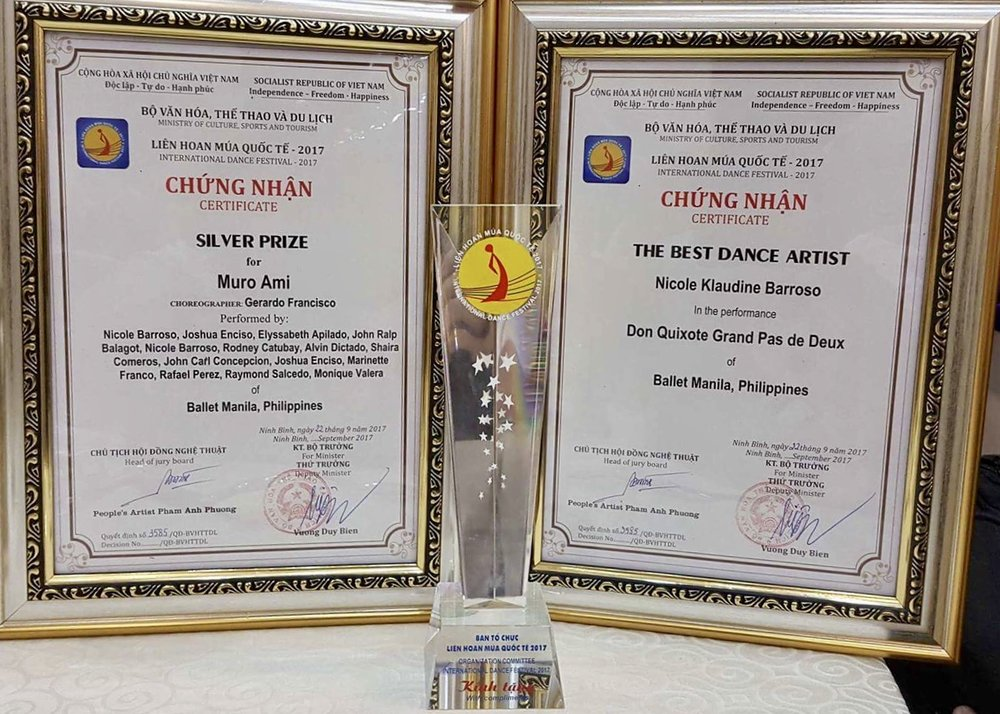 The two awards that Ballet Manila received and a trophy given to all festival participants. Photo courtesy of Jonathan Janolo
