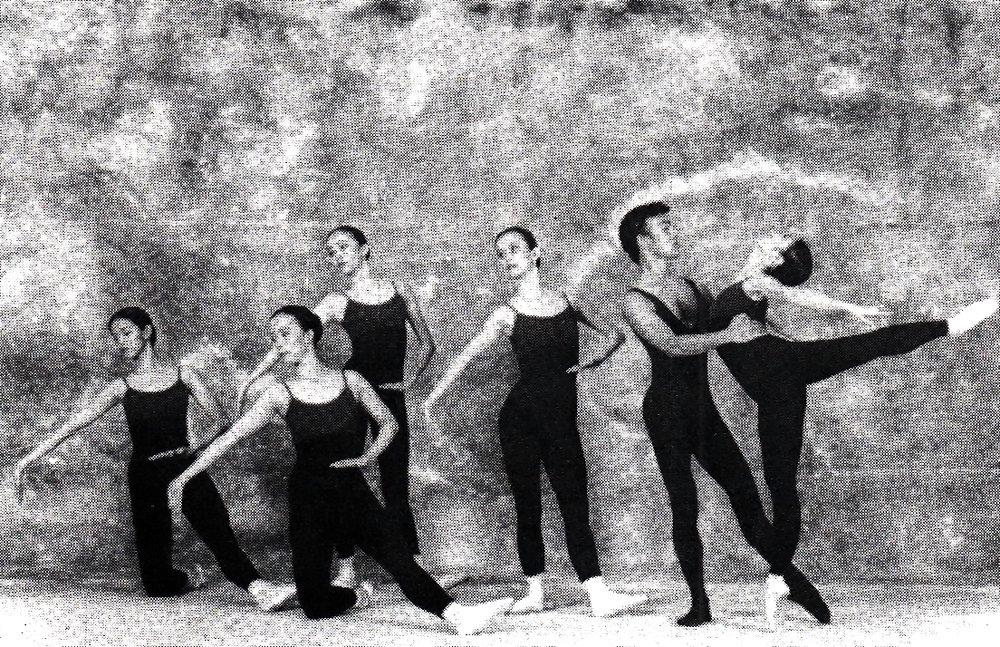 Photo of    Pulp Asia   's original cast, from the 1998 souvenir program of    Gabriela, OPM, Atbp.