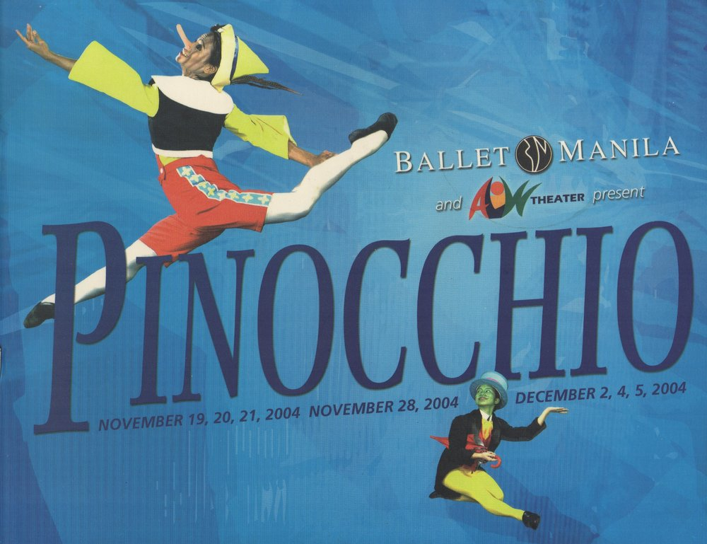 Cover of souvenir program of Ballet Manila's    Pinocchio    in 2004. From the Ballet Manila Archives collection
