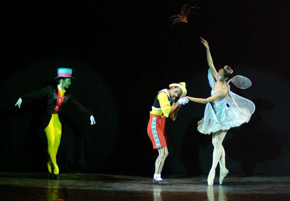 The Blue Fairy brings the puppet Pinocchio to life as Jiminy Cricket looks on.Photo by Ocs Alvarez from the Ballet Manila Archives collection