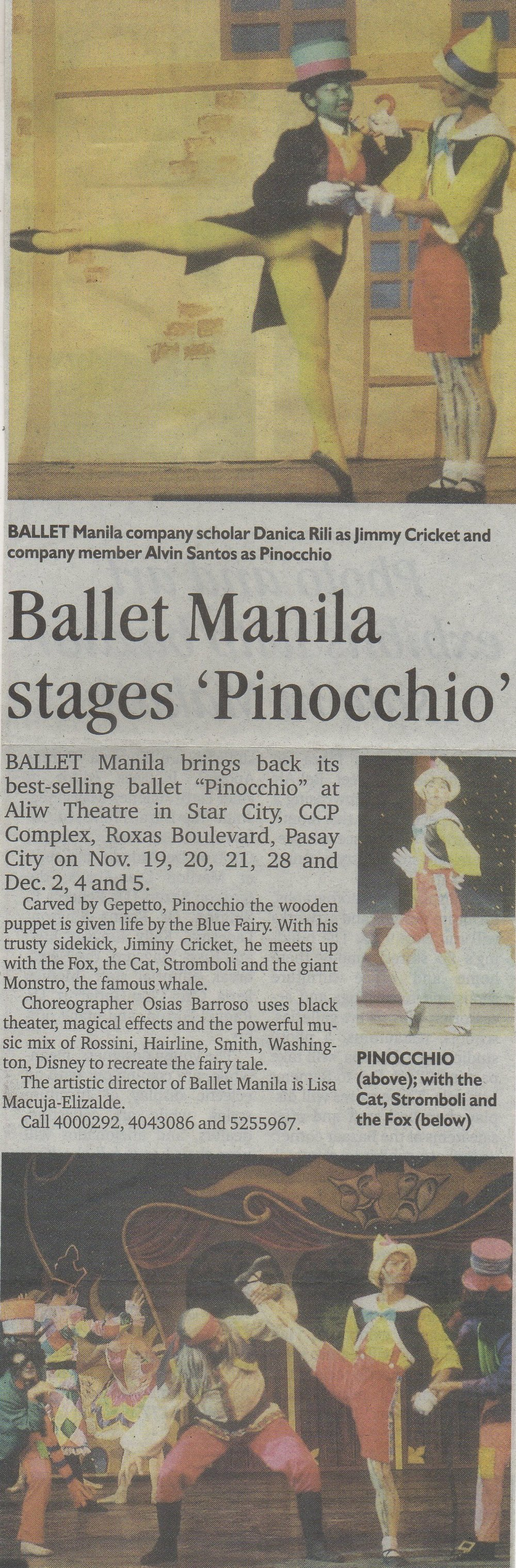 Clipping from the  Philippine Daily Inquirer  announces  Pinocchio 's 2004 run. From the Ballet Manila Archives collection