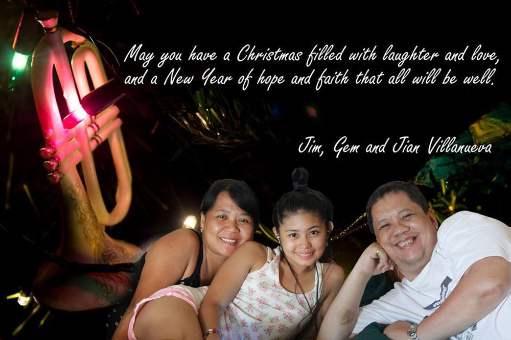 Jimmy Villanueva made this Christmas card to greet family and friends online.