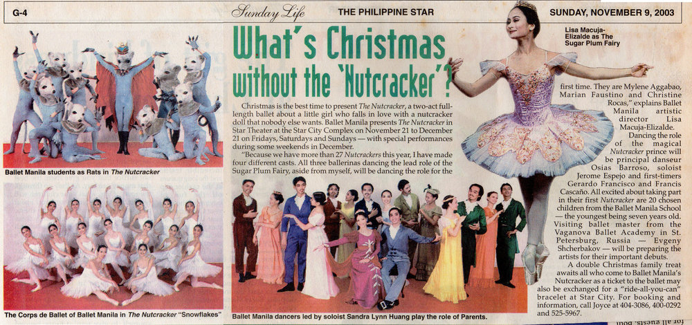 News clipping announces    The Nutcracker    run that was to start November 21 and continue until December. From the Ballet Manila Archives collection