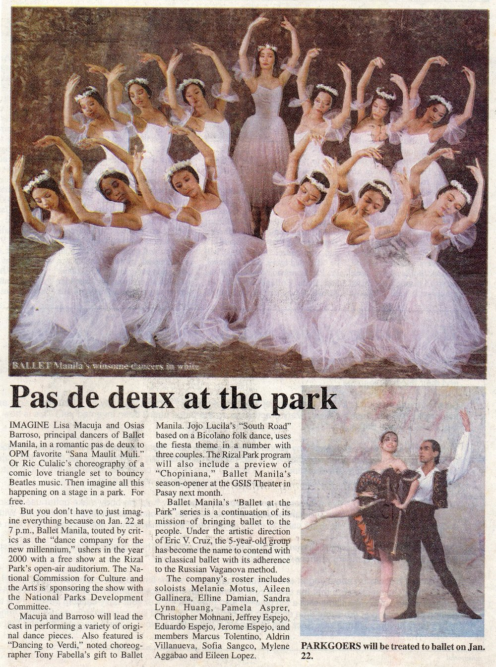 Clipping from    Philippine Daily Inquirer    shares Ballet Manila's repertoire for its Rizal Park performance. From the Ballet Manila Archives collection