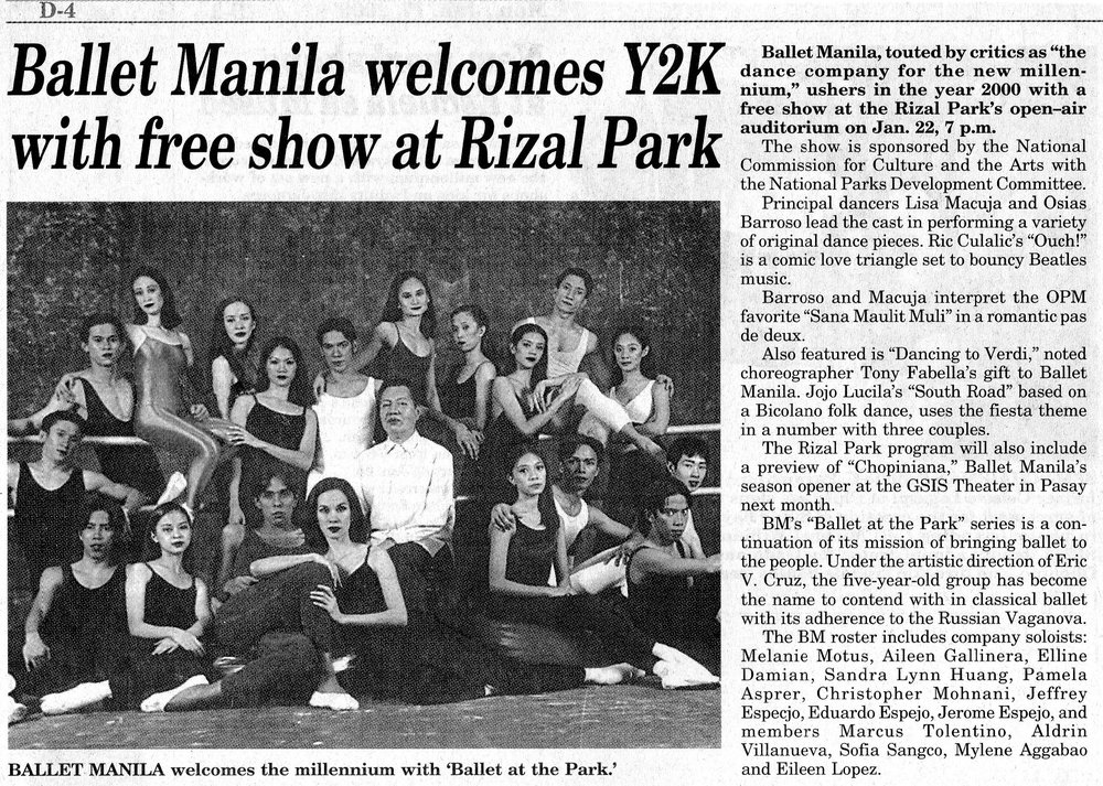 Clipping from    Manila Bulletin    shows a photo of the company with its then artistic director, Eric V. Cruz. From the Ballet Manila Archives collection