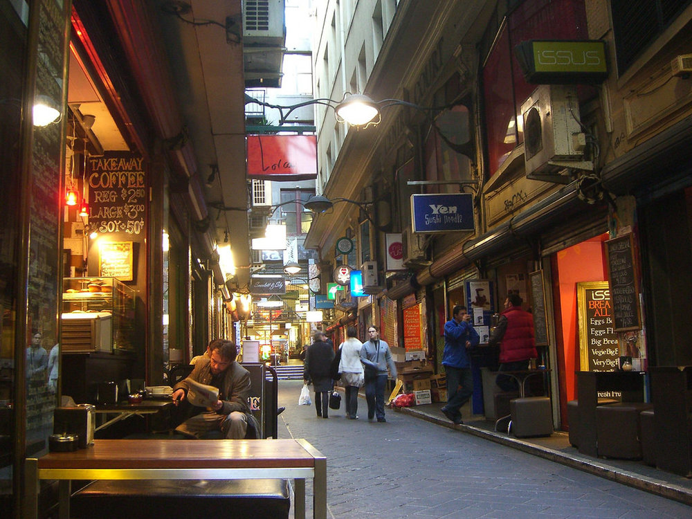Cafés abound in the laneway known as Centre Place. Photo by  Alpha