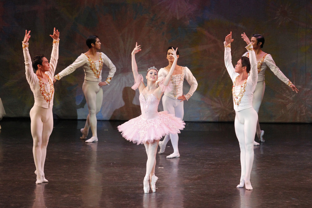 John (left) dances as one of the Cavaliers in    The Swan, The Fairy and The Princess    (2016) with principal ballerina  Katherine Barkman  as Princess Aurora. Photo by Kurt Alvarez