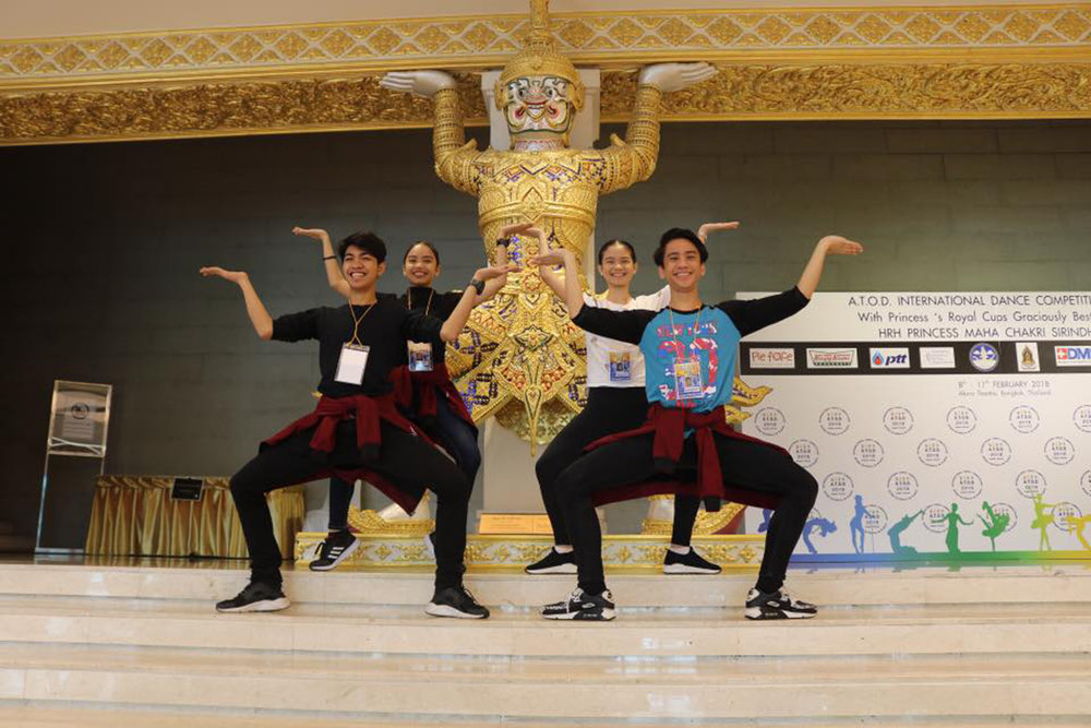 The four dancers try out some Thai moves before the competition begins on February 9. Photo courtesy of Alvin Dictado