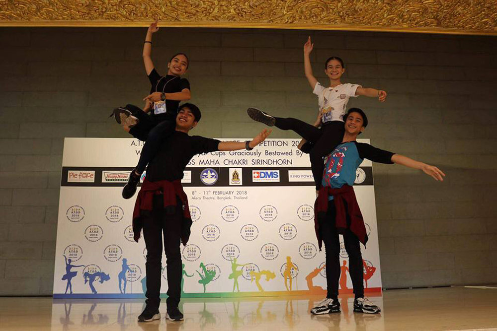 Practicing their moves prior to the Australian Teachers of Dance (ATOD) International Dance Competition in Bangkok: Lyssa Apilado and Alvin Dictado (left) and Shaira Comeros and Brian Sevilla.