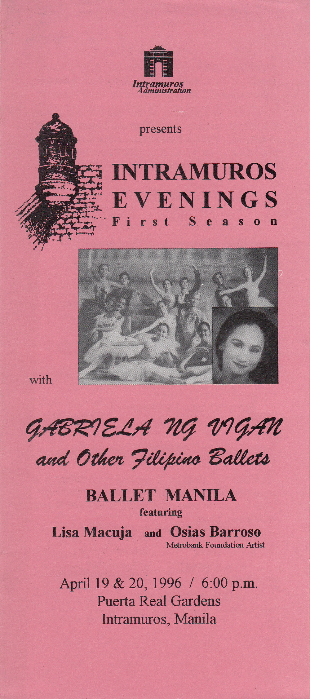 The souvenir program of    Gabriela ng Vigan   , which had its world premiere in April 1996 in Intramuros