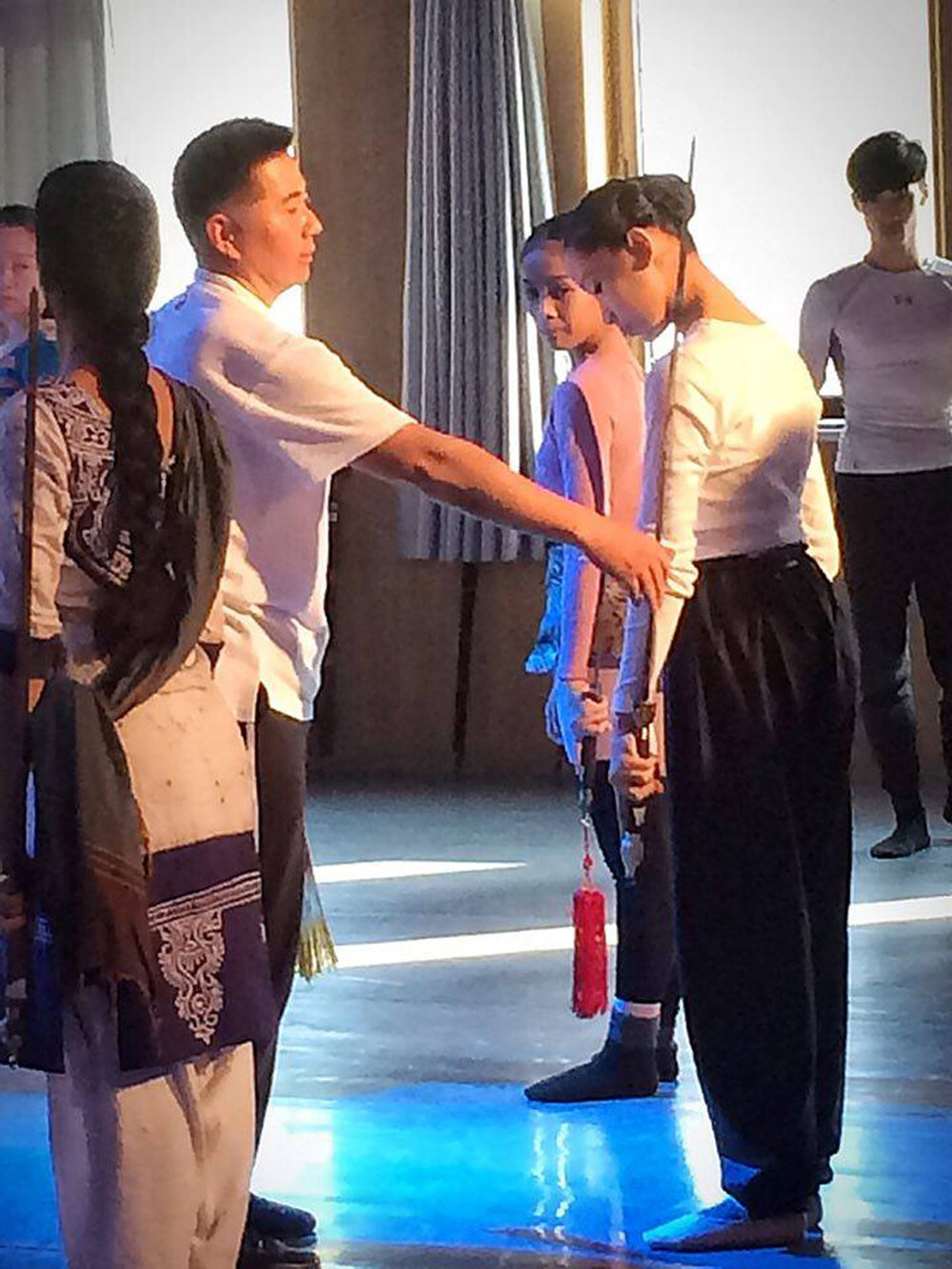 Getting pointers from a mentor in one of classes during the 2016 Beijing Dance Performance Series for Dance Schools. Photo from Marinette Franco's Facebook page