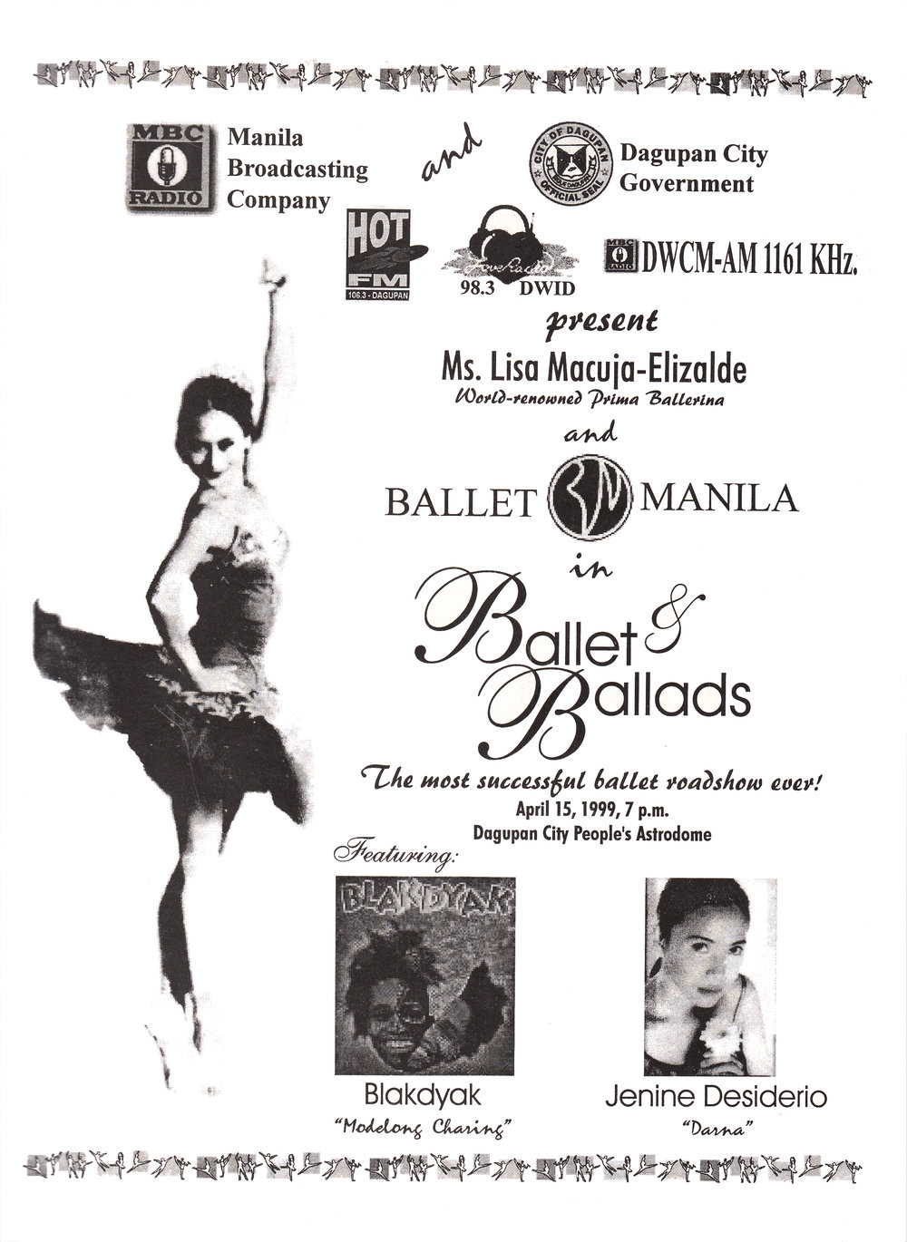 Souvenir program cover for    Ballet & Ballads    in Dagupan. From the Ballet Manila Archives collection