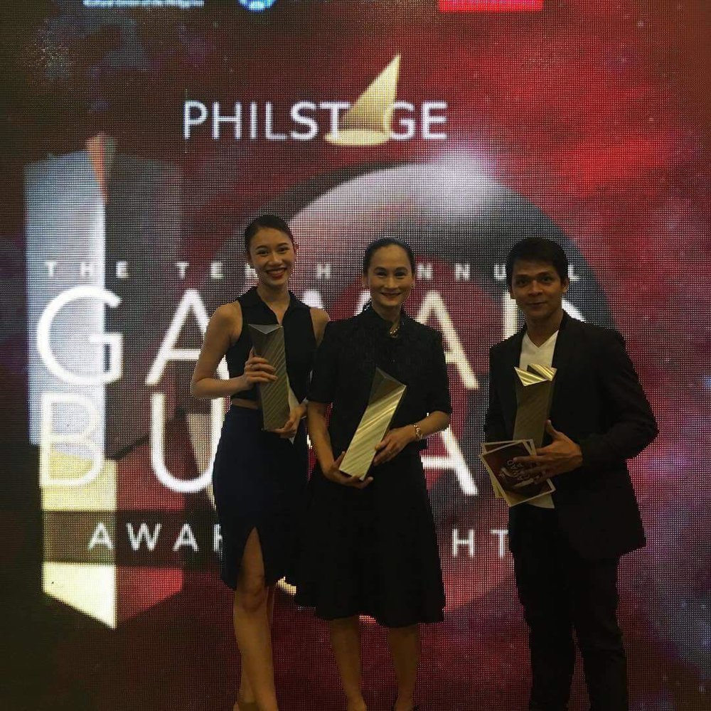 Celebrating after the awards program: Abigail Oliveiro, Lisa Macuja-Elizalde and Gerardo Francisco. Photo by Mark Sumaylo