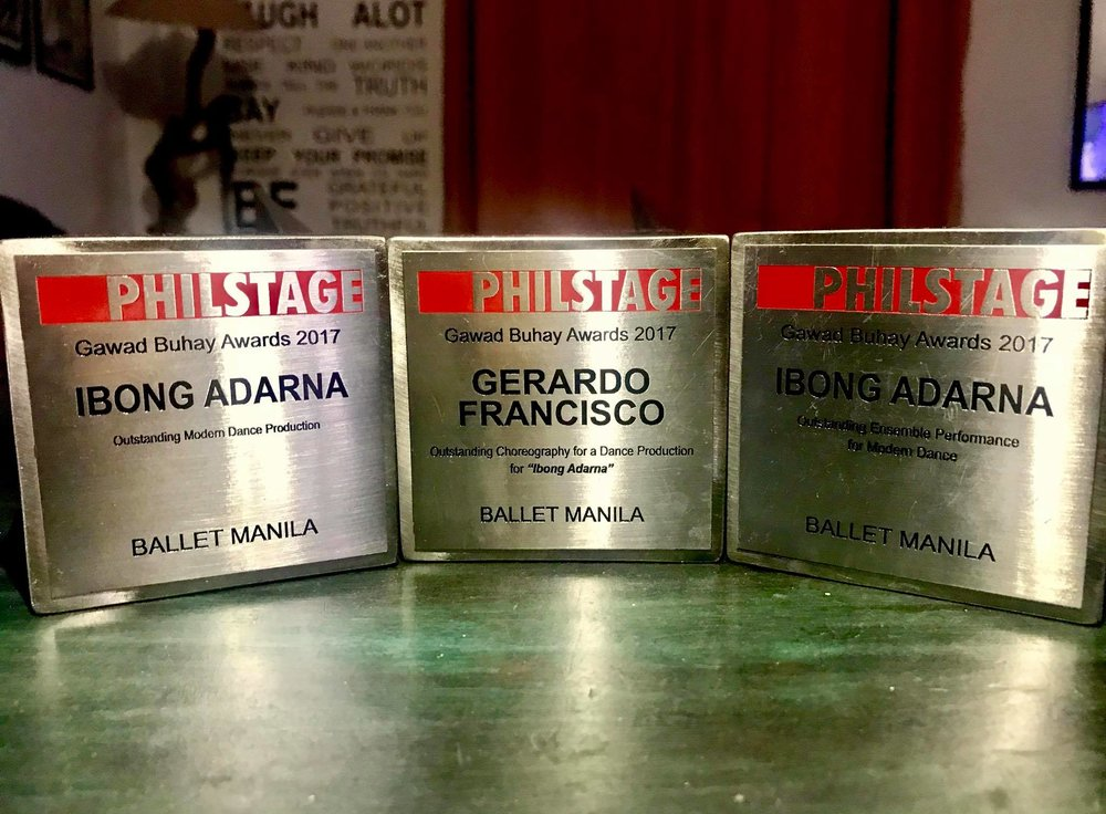 Three of the special-edition 10th Gawad Buhay trophies won by Ballet Manila. Photo by Jed Prudente Francisco