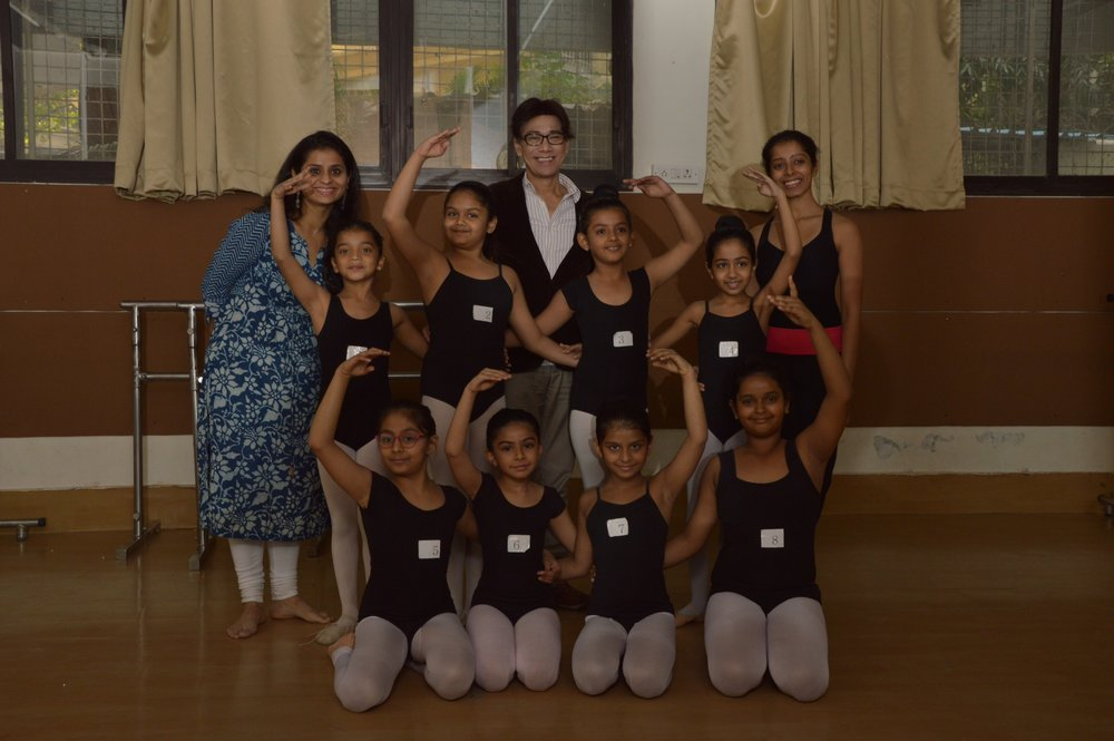 Ballet Manila co-artistic director Osias Barroso joins Rhythmus HappyFeet partners Swara Patel and Deepika Ravindran and their students during one of his visits to the school.